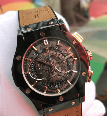 Replika Hublot 77 Edition Skeleton Seramik Kasa Quartz Mekanizma