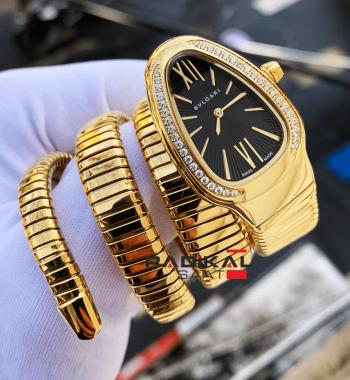 Bulgari Serpenti Yılan 3 Sarmal Gold Siyah Kadran Replika Bayan Saati