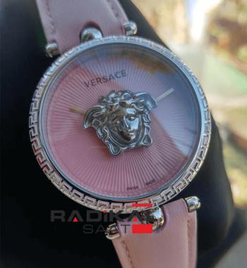 Replika-VERSACE Pembe Kadran Pembe Deri Versace Bayan Saat Modelleri