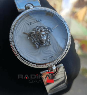 Replika-VERSACE Silver Kasa Beyaz Kadran Versace Bayan Saat Modelleri