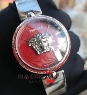 Replika-VERSACE Silver Kasa Kırmızı Kadran Versace Bayan Kol Saatleri