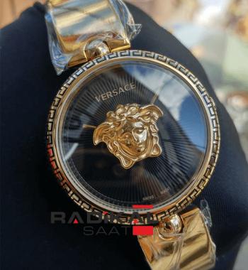 Replika-VERSACE Gold Kasa Siyah Kadran Versace Bayan Saat Modelleri