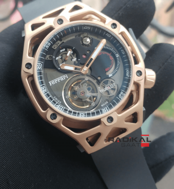Replika-Hublot Ferrari Tourbillon Rose Kasa Black Dial