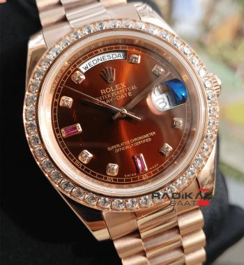 Rolex Day-Date Rose Kasa Taşlı Besel Replika Erkek Kol Saati