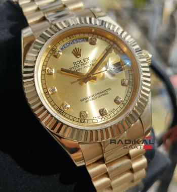 Rolex Day-Date Sarı Kadran Kasa 40 MM Replika Erkek Kol Saati