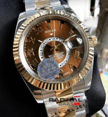 Rolex Sky-Dweller Kahve Rengi Kadran Replika Saat