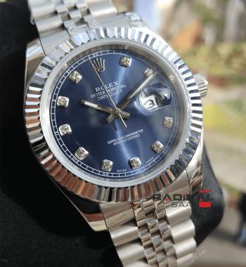 Rolex Datejust 41 MM Mavi Dial Silver Kasa Replika Erkek Kol Saati