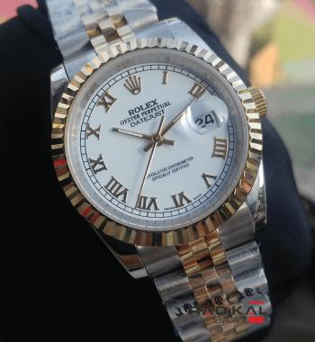 Rolex Datejust 36 MM Beyaz Roma Rakamlı Replika Bayan Kol Saati