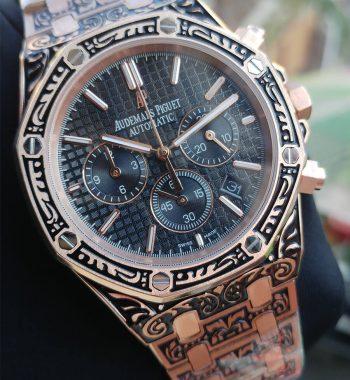 Replika Audemars Piguet- Audemars Piguet İşlemeli Rose Kasa Chronograph Mekanizma