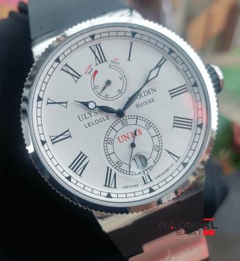 Replika-Ulysse Nardin Lelocle Suısse Chronometer Silver Kasa Beyaz Kadran