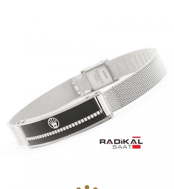 Replika-Rolex Silver/Siyah Çelik New Model Erkek Bilekliği