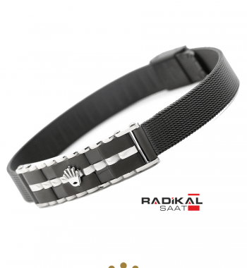Replika-Rolex Silver/Siyah Erkek Bilekliği Yeni Model