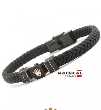 Replika-Rolex Siyah Renk Deri Örgü Erkek Bilekliği