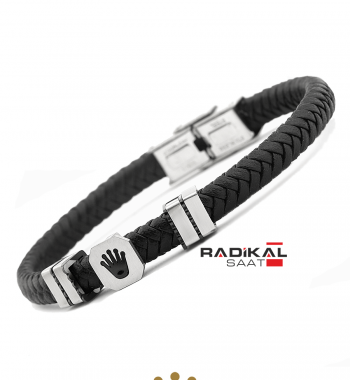 Replika-Rolex Siyah/Silver Renk Deri Örgü Erkek Bilekliği