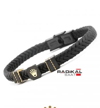 Replika-Rolex Siyah/Gold Renk Deri Örgü Erkek Bilekliği