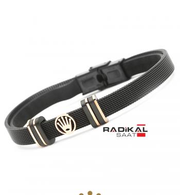 Replika-Rolex Siyah Hasır Çelik Erkek Bileklik Modelleri