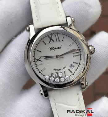 Replika Chopard-Chopard Imperiale Beyaz Deri Kordon Bayan Kol Saati