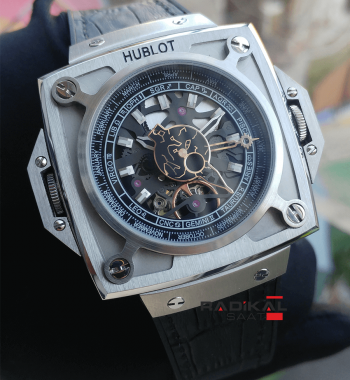Replika Hublot-Hublot Antikythera Silver Kasa Siyah Kadran SunMoon MP-08