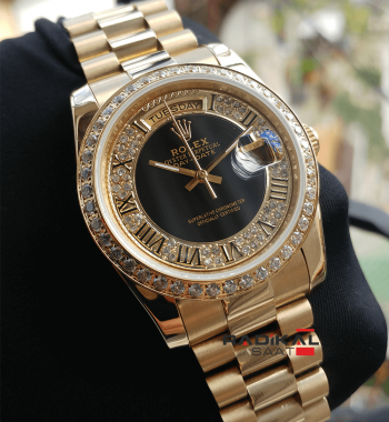 Rolex Day-Date 36 MM Gold Kasa Swarovski Taşlı 2018 En Yeni Bayan Kol Saati