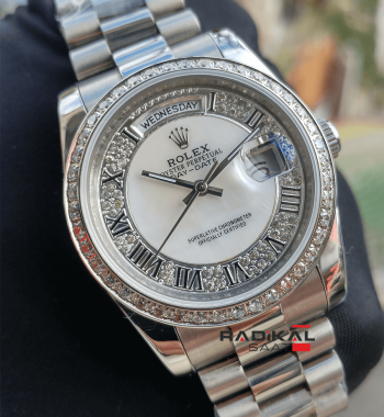Rolex Day-Date 36 MM Silver Kasa Swarovski Taşlı Replika Bayan Kol Saati