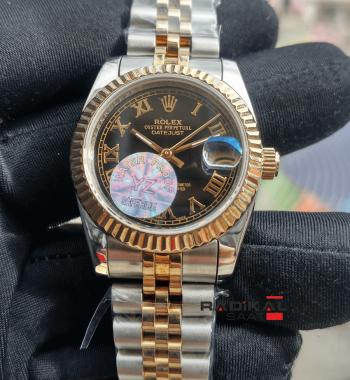 Rolex DateJust Jubile 36 MM Roma Rakamlı Siyah Dial Replika Bayan Saati