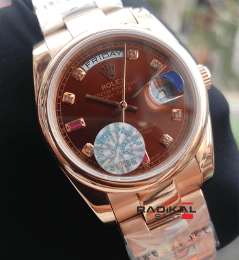 Rolex Day-Date 36 MM Oyster Kordon Rose Kasa Replika Bayan Kol Saati