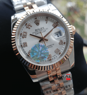Rolex Datejust 36 MM Tırtıklı Besel Beyaz Kadran Replika Bayan Kol Saati