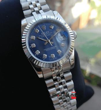 Rolex Datejust 28 MM Mavi Kadran Silver Kasa Replika Bayan Kol Saati