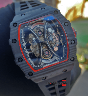 RICHARD MILLE Carbon Tourbillon Pablo Mac Donough Black Dial Watch RM 53-01 Asya A-1826 Otomatik Mekanizma