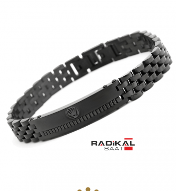 Replika-Rolex Pvd Siyah Çelik Erkek Bileklik