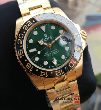Rolex Gmt Master II Gold Kasa Yeşil Kadran Erkek Saatleri