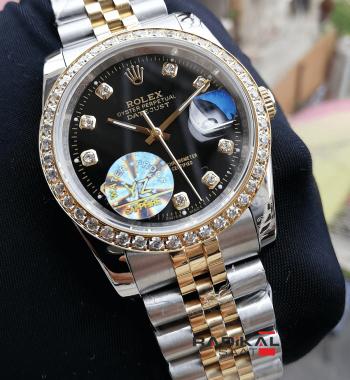 Rolex Datejust 36 MM Siyah Kadran Taşlı Besel Replika Bayan Kol Saati