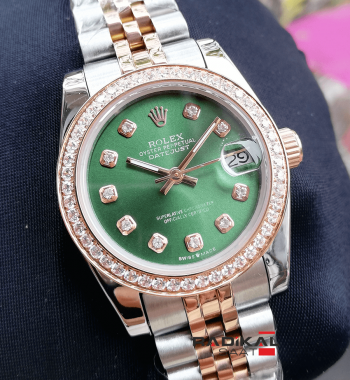 Rolex Datejust Rose Silver Kasa Yeşil Kadran Bayan Kol Saati