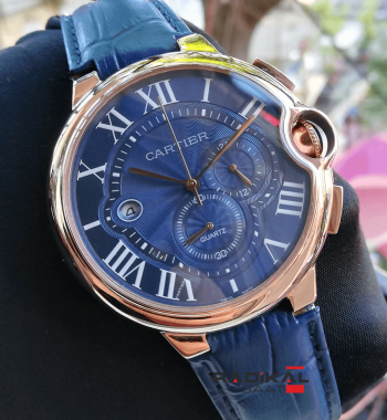 Cartier Ballon Bleu Lacivert Deri Kordon Lacivert Kadran Rose Kasa 44mm Erkek Kol Saati