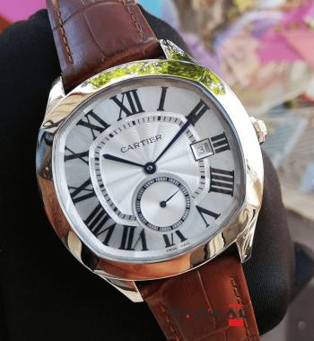 Cartier Drive De Cartier Beyaz Kadran Çelik Kasa 43mm Replika Erkek Kol Saati