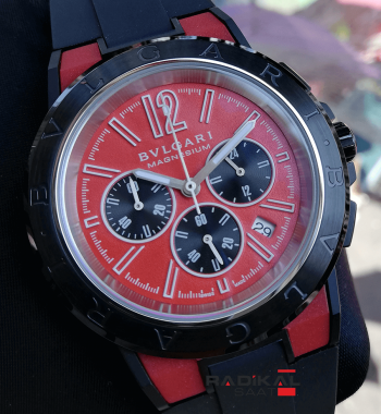 Bvlgari Diagono Magnesium Kırmızı Kadran Replika Erkek Kol Saati