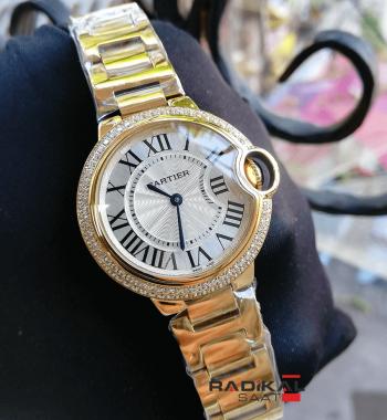 Cartier Ballon Bleu Gold Taşlı Besel 33 MM Replika Bayan Kol Saati