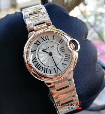 Cartier Ballon Bleu Bayan Rose Çelik Kasa 36 mm Replika Bayan Kol Saati