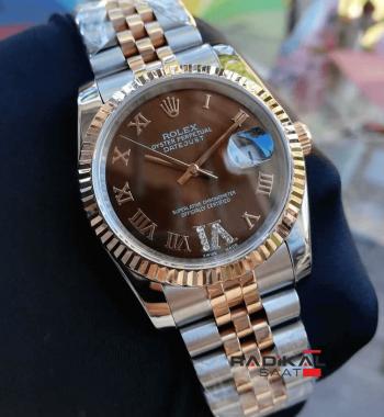 Rolex DateJust Kahve Rengi Kadran Replika Bayan Kol Saati