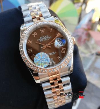 Rolex DateJust Taşlı Besel Kahve Rengi Kadran Replika Bayan Kol Saati