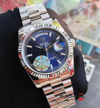 Rolex Day-Date Mavi Kadran Silver Kasa Replika Bayan Kol Saati