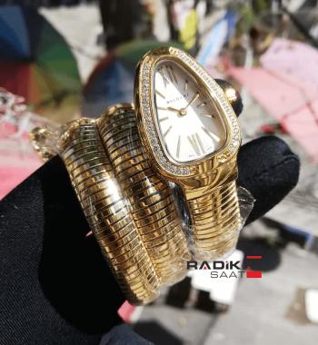 Bvlgari Serpenti Yılan Modeli Gold Renk 3 Sarmal Taşlı Bezel Beyaz Kadran Bayan Kol Saati