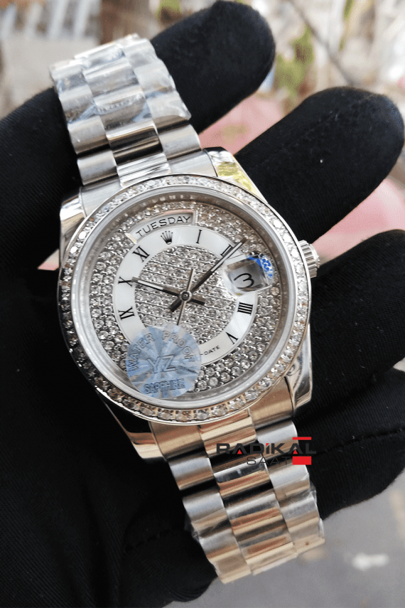 Rolex Day-Date Swarovski Replika Bayan Kol Saati