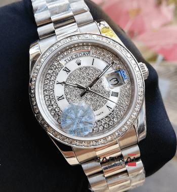 Rolex Day-Date Swarovski Taşlı Beyaz Kadran Replika Bayan Kol Saati