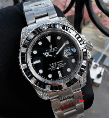 Rolex Submariner Baget Taşlı Siyah Kadran Replika Unisex Kol Saati
