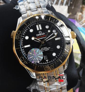 Omega Seamaster Gold Siyah Kadran Replika Erkek Kol Saati