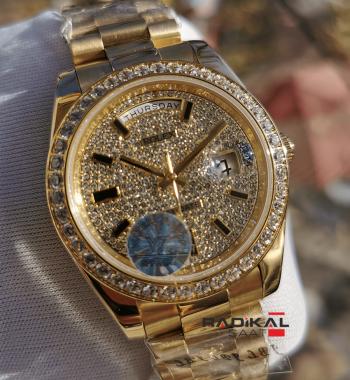 Rolex Day-Date 41 mm Swarovski Taşlı Kadran Replika Erkek Kol Saati