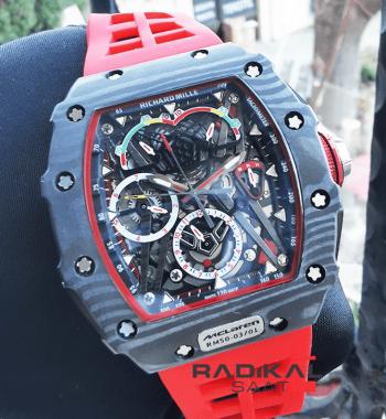 Richard Mille RM50-03-01 McLaren Pvd Kasa Kırmızı Silikon Kordon Replika Erkek Kol Saati
