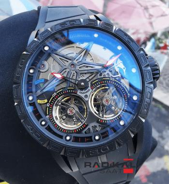Roger Dubuis Excalibur Spider Pirelli Flying Double Tourbillon PVD Siyah Kasa Replika Erkek Saati