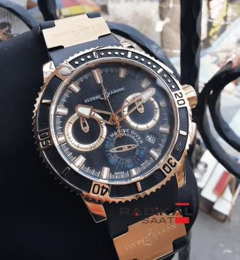 Ulysse Nardin Diver Chronometer Rose Kasa Siyah Kadran Replika Erkek Kol Saati
